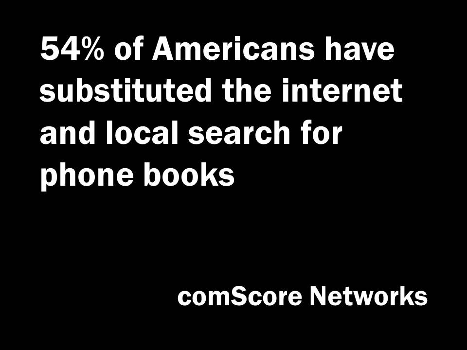 People use the internet instead of yellow pages